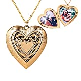 Personalized Large Heart-shape Locket With 2 Picture Inside Engraved Pendant Memorial Necklace Customizable Any Photo Text&Symbols for Women (Gold)