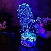 タッチコントロール、Led 3Dナイトライトライオンパターン常夜灯子供の寝室の装飾デスクランプ16色