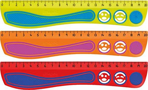 Maped - stossfestes Lineal KIDY'GRIP 20 cm, aus recyceltem Plastik, mit Anti-Rutsch-Noppen - türkis-grün, pink-orange, blau-rot