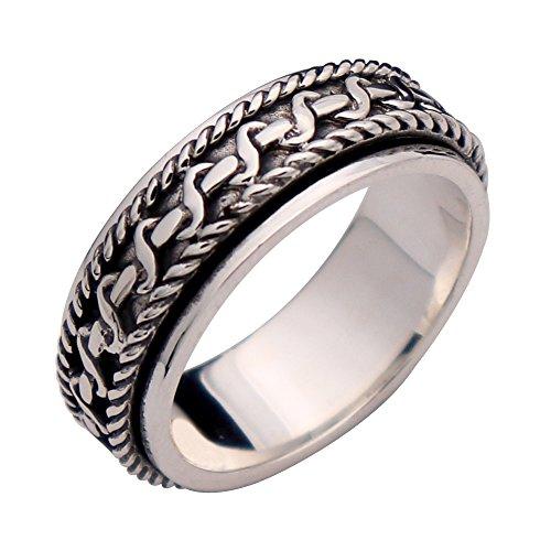 ForFox Herren Damen Vintage Echt 925 Sterling Silber Twist Seil Spinner Ring Band Drehring 7mm Größe 63