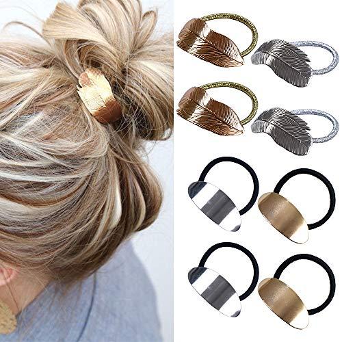 Elastici per coda di cavallo per ragazze 8 pezzi, elastici per capelli in metallo accessori regalo per capelli da donna