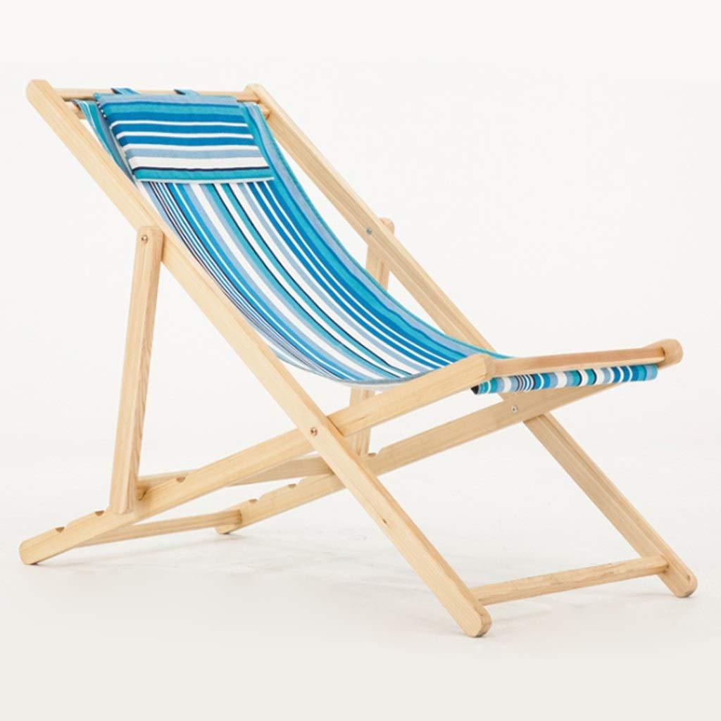 Zcyg Tumbona Silla de Playa Plegable de Lona de Madera Maciza Silla de jardín de Pesca al Aire Libre Tumbona Sillas Ajustables Raya (Color : A): Amazon.es: Hogar