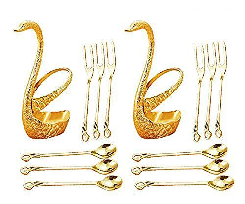 Dinnerware Set Fruit Fork Set Dessert Flatware Set CRIVERS Decorative Swan Base Holder with 3 Forks and 3 Spoons Set of 2 Gold