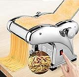 Pasta Maker, 110V Electric Noodle Press Machine Spaghetti Pasta Maker Commercial Stainless Steel Dough Cutter Dumplings Roller Noodles Hanger,6 Speed Adjustable Thickness Setting (2 Noodle Knife)