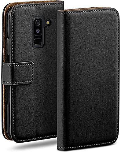 moex Klapphülle kompatibel mit Samsung Galaxy A6 Plus (2018) Hülle klappbar, Handyhülle mit Kartenfach, 360 Grad Flip Hülle, Vegan Leder Handytasche, Schwarz
