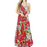 Xplanet Women's Summer Deep V Neck Casual Long Beach Dresses Sleeveless Vacation Floral Print Beach Maxi Dress (Apparel)