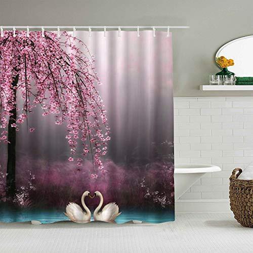 YiiHaanBuy Personalisierter Duschvorhang,Feen-Dämmerungs-Natur-Schwan, der unter Blüten-Baum-Feuchtgebiet-See-Dschungel küsst,wasserabweisender Badvorhang für das Badezimmer 180 x 180cm