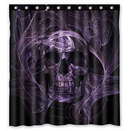 FMSHPON Duschvorhang aus Polyester, fluoreszierend, lila & schwarz, Totenkopf, wasserdicht, 168 x 183 cm