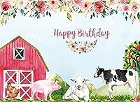 新しい漫画ファーム水彩背景10x7ftハッピーキッズ誕生日パーティー写真の背景牛羊と豚のケーキテーブルの装飾休日の写真写真ブース撮影小道具ビニール壁紙