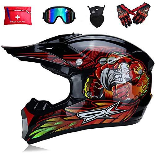 Motocicleta Motocross Moto Casco,Bicicleta Sucia Niños Quad Bike ATV Karting Carreras Cuesta Abajo Casco,con 3 Kits de Casco (XL, Tropical Rojo)