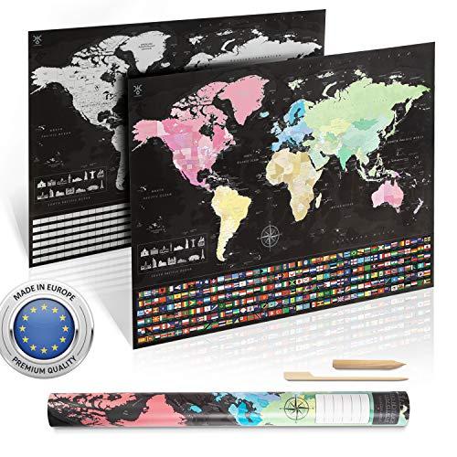 *uranuspro – Scratch Off World Map/Detaillierte Weltkarte zum Rubbeln im XXL Poster Format 84 x 60 Rubbel Weltkarte*