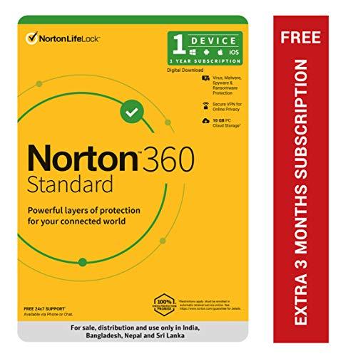 Norton 360 Standard - 1 User 1 Year | Includes Secure VPN & Firewall