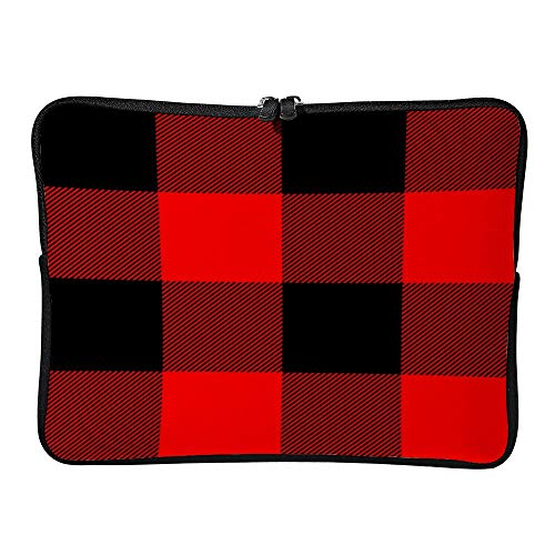 Laptop Sleeve Water Repellent Neoprene BagLarge Red and Black Buffalo Plaid Protective Case Cover Compatible with MacBook Pro/Asus/Dell/HP/Sony/Acer 10 inch