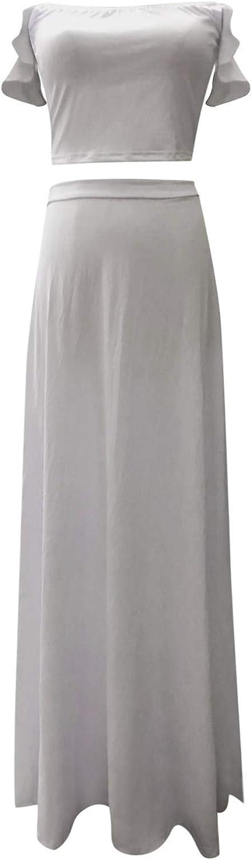 Sinifer Women's Sexy Off Regular dealer Detroit Mall Shoulder Side Two-Piece Maxi Slit Dress
