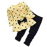 Ropa Bebe Niñas Otoño Invierno,Fossen 2PCS/Conjunto Recién Nacido Bebé Niñas Impresión Arco Camiseta de Manga Larga + Pantalones (0-3 Meses, Amarillo)