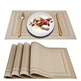 Artand Placemats, Woven Crossweave Placemat for Dining Table, PVC Vinyl Table Mats, Set of 4 (Beige-Frames)