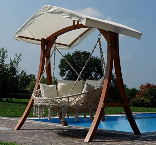 Hängesessel Hängelounger Doppellounger Lounge für 2 Personen Maui mit vielen Kissen klappbar inkl. Hollywoodschaukel - Gestell Aruba mit Dach von AS-S - 7