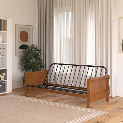 DHP Futon Wood Arms and Side Storage Mattress Sold Separately, Walnut Frame