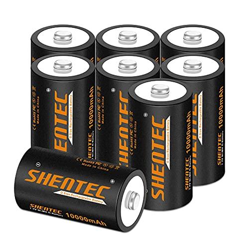 8 Stück Shentec D Akku 10000mAh Mono D Wiederaufladbar Batterien NI-MH 1.2V D Aufladbare Akkubatterien mit Geringer Selbstentladung & Lange Lebensdauer