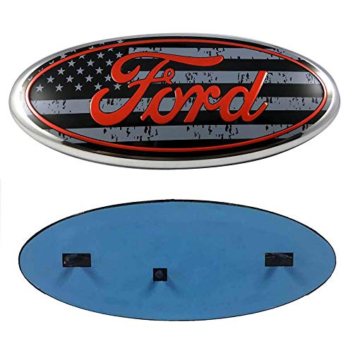 Fd Front Tailgate Emblem, Oval 9'X3.5' Badge Nameplate for 04-14 F150 F250 F350, 11-14 Edge, 11-16 Explorer, 06-11 Ranger (Gray Flag)