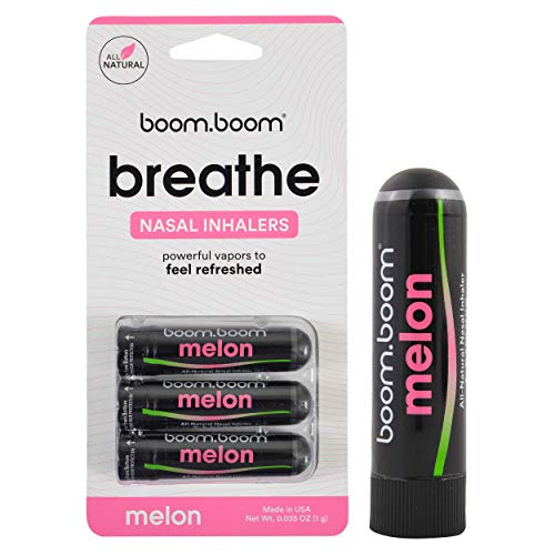 Aromatherapy Nasal Inhaler (3 Pack) by BoomBoom   Boosts Focus + Enhances Breathing   Provides Fresh Cooling Sensation   Made with Essential Oils + Menthol (Melon)