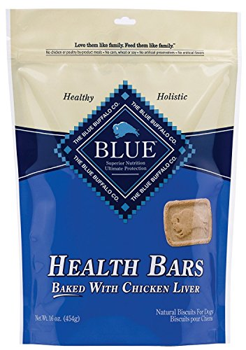 Blue Buffalo Health Bars for Dogs, Chicken and Liver Crunch, 16-Ounce Bag(2Pack)