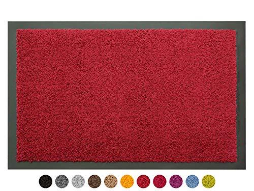 Schmutzfangmatte Sauberlauf Matte DANCER – Rot, 60x80 cm, Waschbare, Rutschfeste, Pflegeleichte Fußmatte, Eingangsmatte, Küchenläufer Matte, Türmatte Haustür Innen & Außen