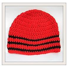 Handmade beanie  Red Rose Black Hat  crochet Skull with satin red rose and green felt leaves