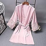 Frühling und Sommer Damen Mittelärmel Schlafsauna Badehaus Freizeit Bademantel Loungewear Home Kleidung Nachtwäsche-pink3-M
