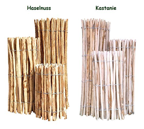 Staketenzaun Edelkastanie 100 x 500 cm (Lattenabstand 4-5 cm) - Staketen Roll Zaun Kastanie - Garten Kastanienzaun Natur