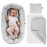 Alvi Baby Nest Kuschelnest 80x50 cm - Babynestchen Set mit Matratze, TENCEL® -Auflage und Kopfkissen, ÖkoTex geprüft - Bezug aus 100% Baumwolle, maschinenwaschbar - Weiß Grau