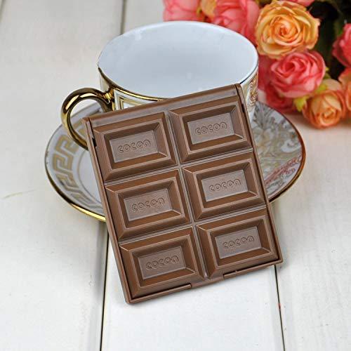 Nouveau miroir mignon pliable miroir de maquillage miroir au chocolat en forme de poche carrée en forme de poche de poche carrée + fille en plastique fille belle Miroir de maquillage (Color : Brown)
