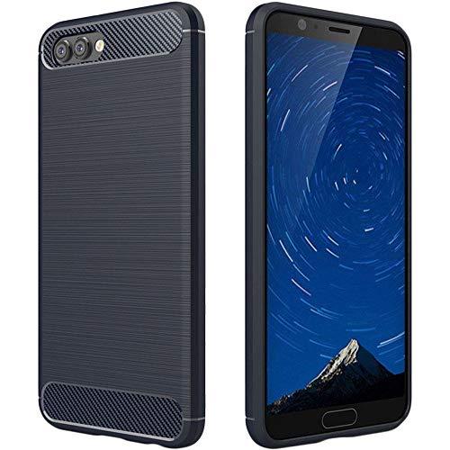 ebestStar - Cover Compatibile con Huawei Honor View 10 Custodia Protezione Silicone Gel TPU Design Fibra di Carbonio Anti Scivolo, Blu Scuro [Apparecchio: 157 x 75 x 7mm, 5.99'']
