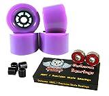 Owlsome 90mm Wheels Longboard Flywheels ABEC 7 Precision Bearings (Purple)