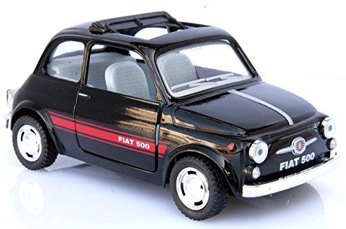 Fiat 500 Classic Nera Modellino Metallo c/Molla richiamo - cm 13x5,5x6 1:24 per Bambini