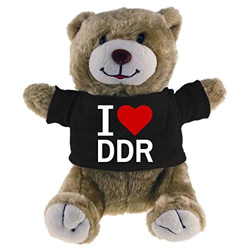 Multifanshop Kuscheltier Bär Classic I Love DDR beige - Stofftier Püschtier Schmusetier