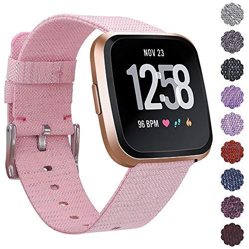 KIMILARArmbänder Kompatibel mit Fitbit Versa/Versa 2/Versa Lite Armband Stoff, Schnellspanner Nylon Ersatzband Armbänder mit Edelstahl Handgelenk Verschluss für Versa Smartwatch - Pink