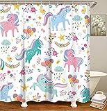 LIVILAN Unicorn Shower Curtain Girls Kids Cute Colorful Polyester Fabric Cartoon Animal Bathroom Curtain Machine Washable 72inch Shower Curtains with 12 Hooks (White, 72' X 72')