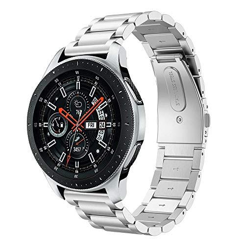 Diruite für Samsung Galaxy Watch 46mm/Gear S3 Armband Uhrenarmband,22mm Galvanisieren Edelstahl Metall Mit Doppelt Faltschließe Ersatzarmbänder-Silber