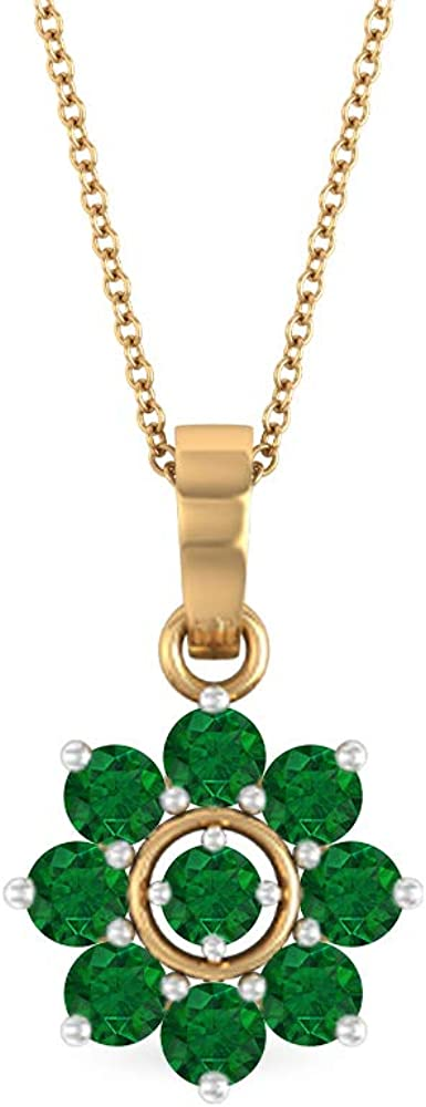 Diffused Emerald Necklace, 1.32 CT Round Shaped 3.30 MM Gemstone, Gold Floral Jewelry Collection, Cluster Pendant Necklace, Valentines Gift For Her