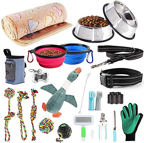AONESY Puppy Essential Set of 24 Dog Supplies Dog Starter Sets Including Dog Toy Set/Dog Blankets/Puppy Training Supplies/Dog Grooming Tool/Dog Leads/Feeding & Watering Supplies