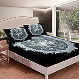 Wolf - Juego de sábanas de cama con diseño de animales de safari y vida silvestre para niños, niñas, sábana bajera ajustable de microfibra, color negro con 2 fundas de almohada, 3 piezas de cama King
