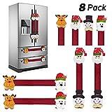 KATUMO Refrigerator Door Handle Covers Set of 8,Christmas Decorations Handle Cover Santa Snowman...
