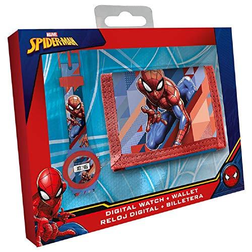 CARTOON GROUP Set Orologio da Polso Digitale + Portafogli Spiderman Marvel Bambino - MV15541