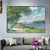 Impresión HD Claude Monet Seine en Argenteuil Paisaje impresionista Pintura al óleo sobre lienzo Pós...