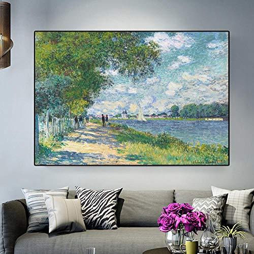 """Impresión HD Claude Monet Seine en Argenteuil Paisaje impresionista Pintura al óleo sobre lienzo Póster Artístico Cuadro de pared para el hogar Marco de 24""""x35"""" (60x90cm)"""
