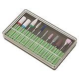Conjunto de broca de uñas, con cerámica, acero de tungsteno 10pcs / set BH-04, BH-05, BH-06 Removedor de gel pedicura