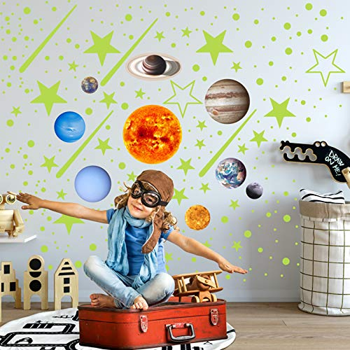 Glow in The Dark Stars for Ceiling, Bright Solar System Wall Stickers 3D Glowing Wall Stickers, for Kids Bedroom Any Room,Shining Space Decoration, Birthday Christmas Gift for Boys and Girls(453pcs)