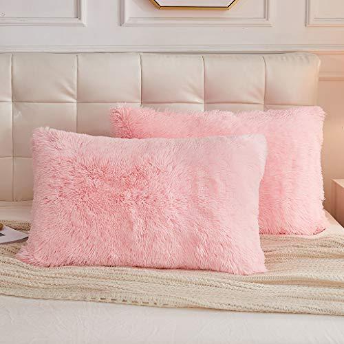 LIFEREVO 2 Pack Shaggy Plush Faux Fur Pillow Shams Fluffy Decorative Pillowcases Zipper Closure (Pink, King)