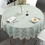 Mint Tischdecke Runder Tisch Wellenmuster mit Quaste,Rund Tischtuch Gartentisch Abwaschbar Boho Tafeldecke Tischwäsche Schmutzabweisend Balkon Draussen 160cm